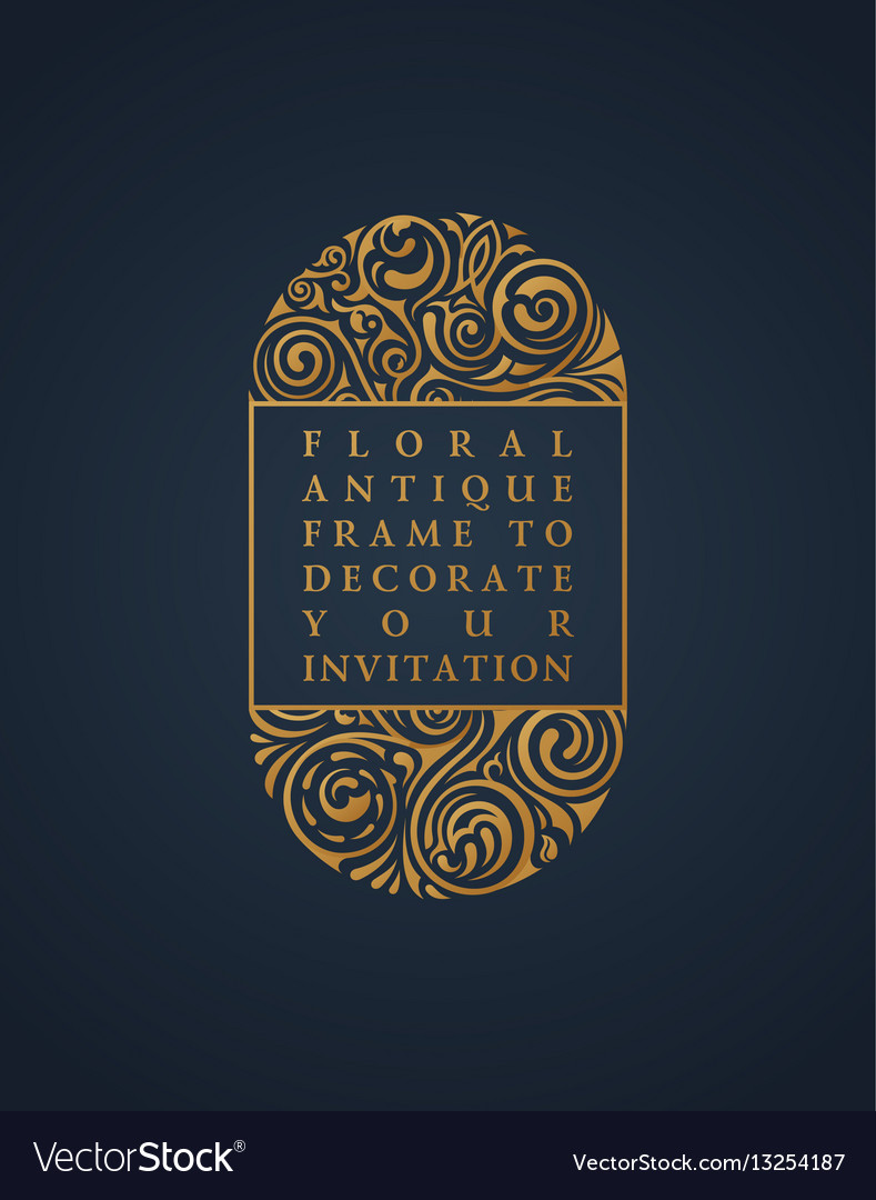 Floral calligraphic frame design for vector image