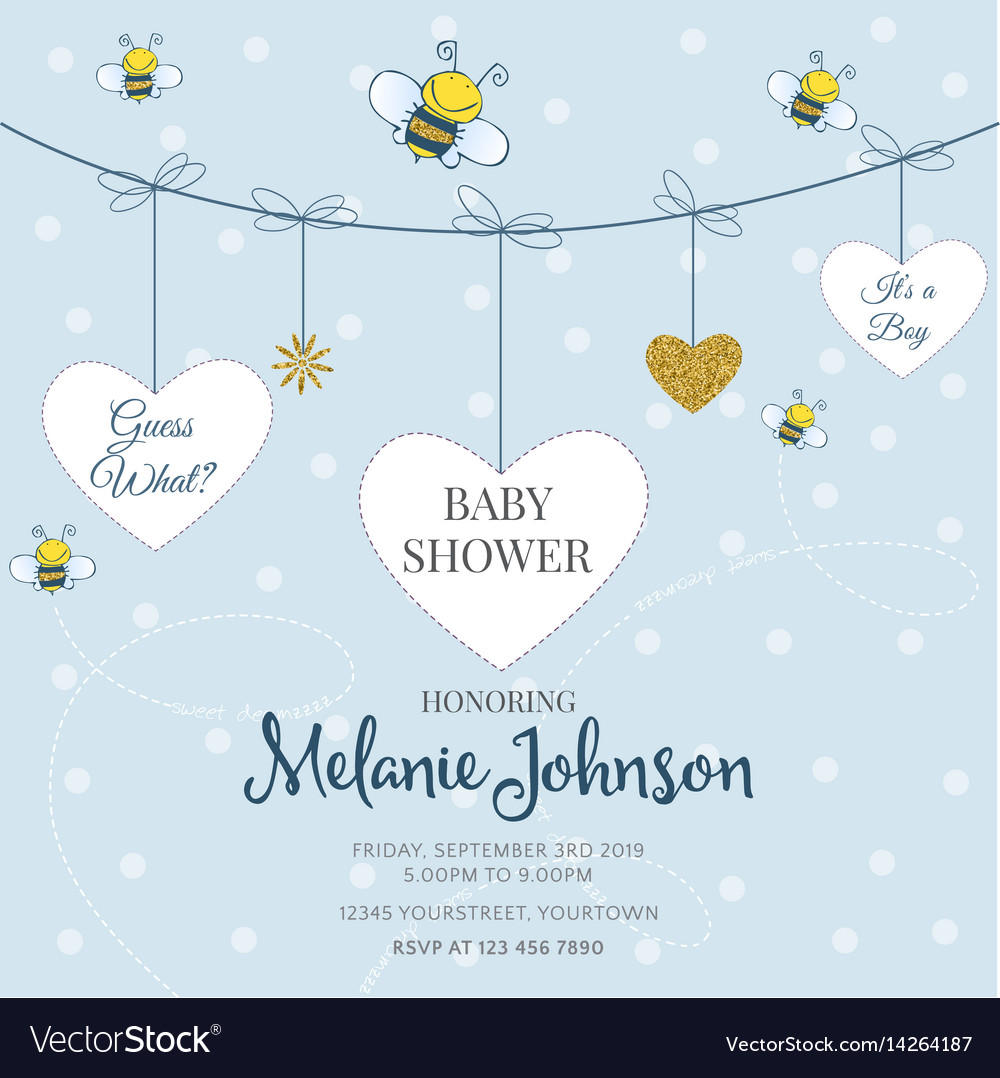 Lovely Baby Shower Card Template With Golden