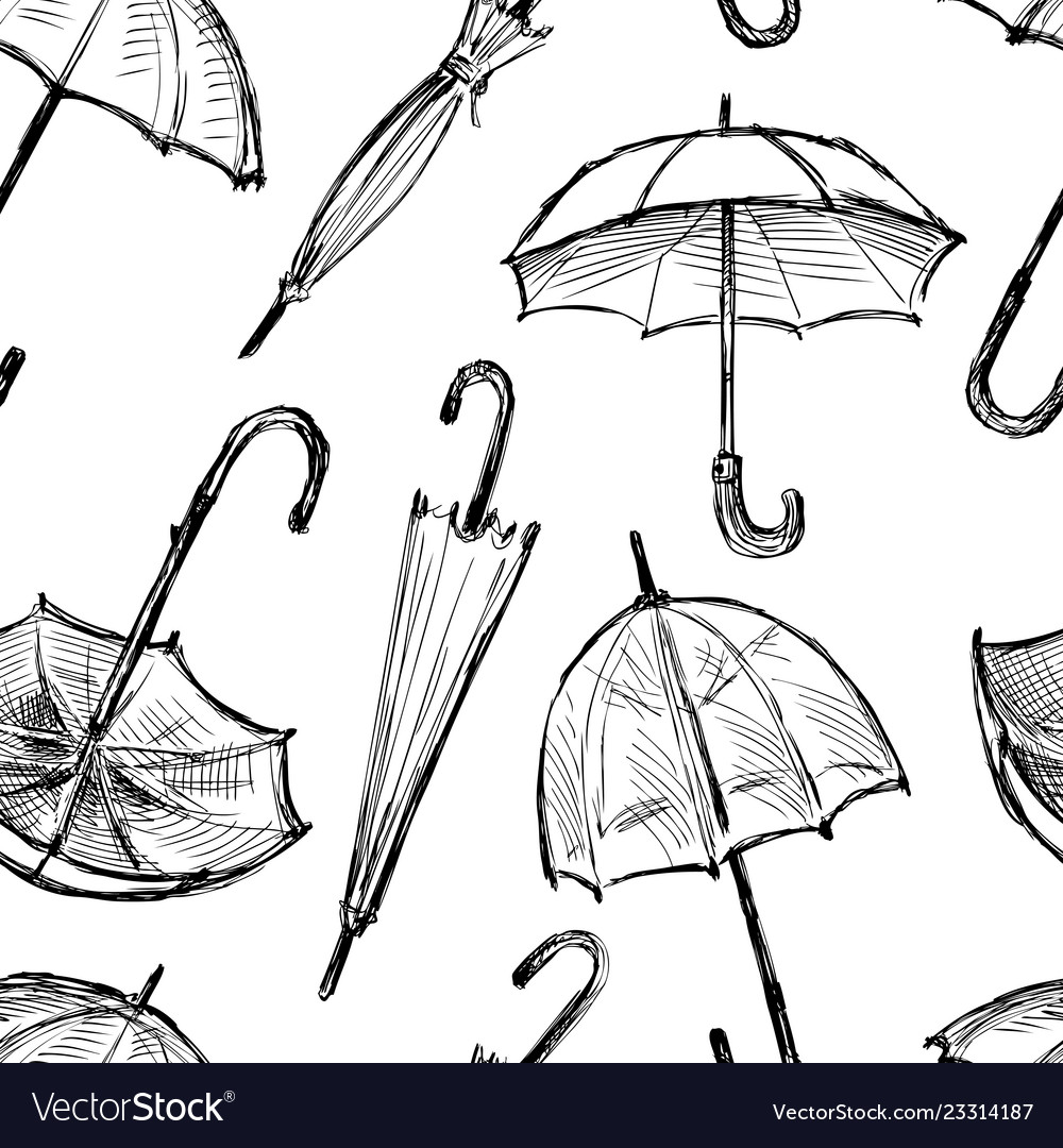 Seamless background of the umbrellas sketches vector image