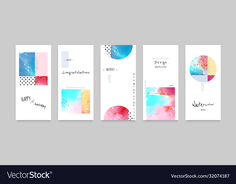 Set hand-painted watercolor card layouts and
