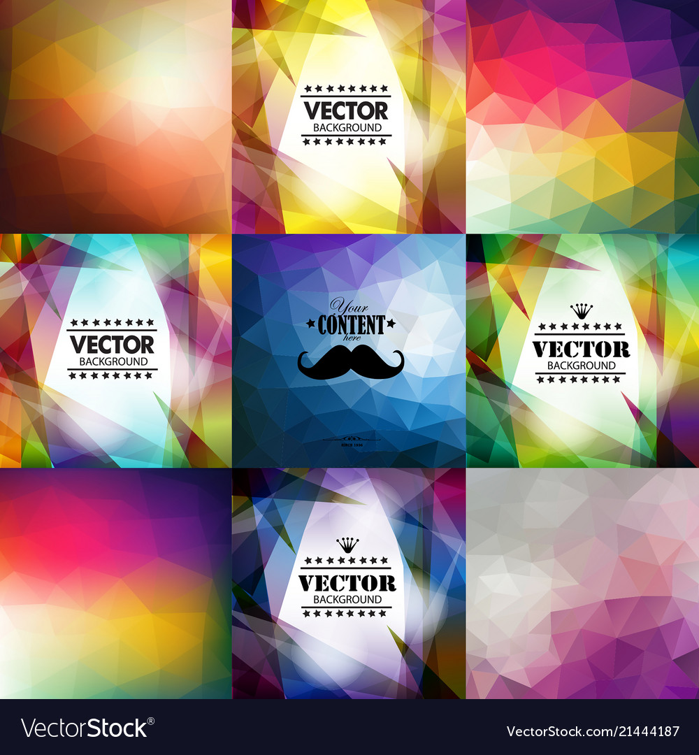 Set of nine colorful abstract geometric background