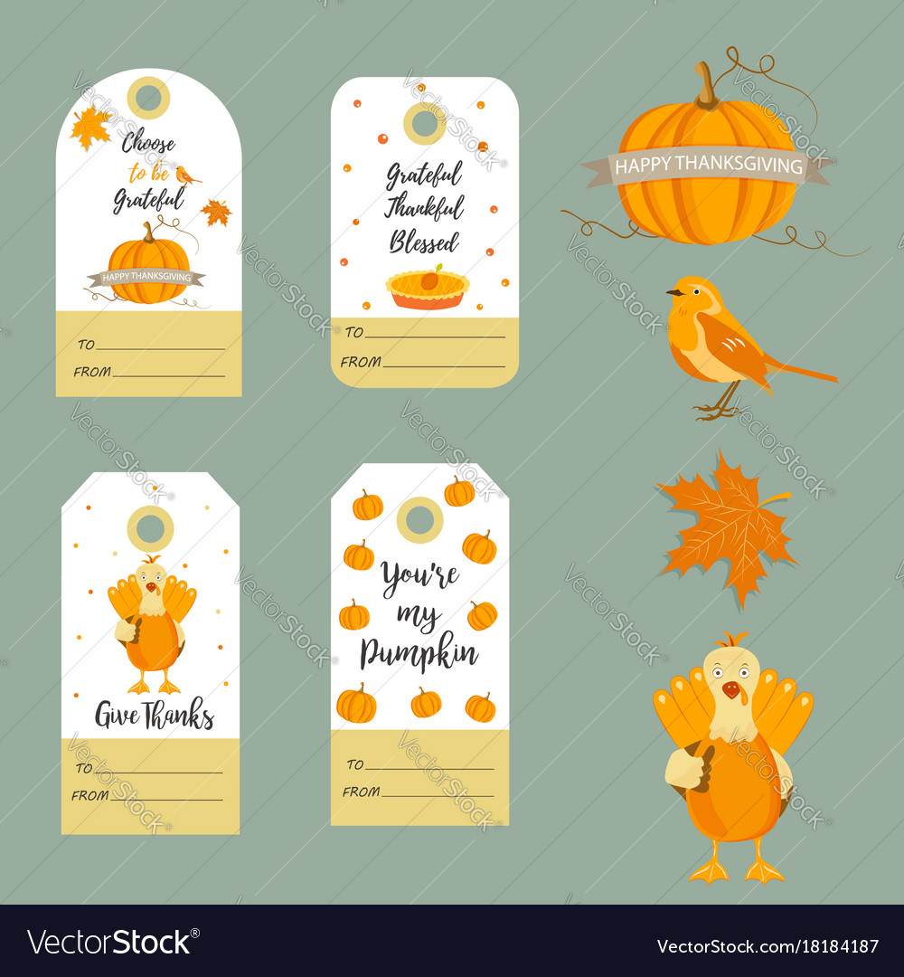 Set of thanksgiving backgrounds badgestags