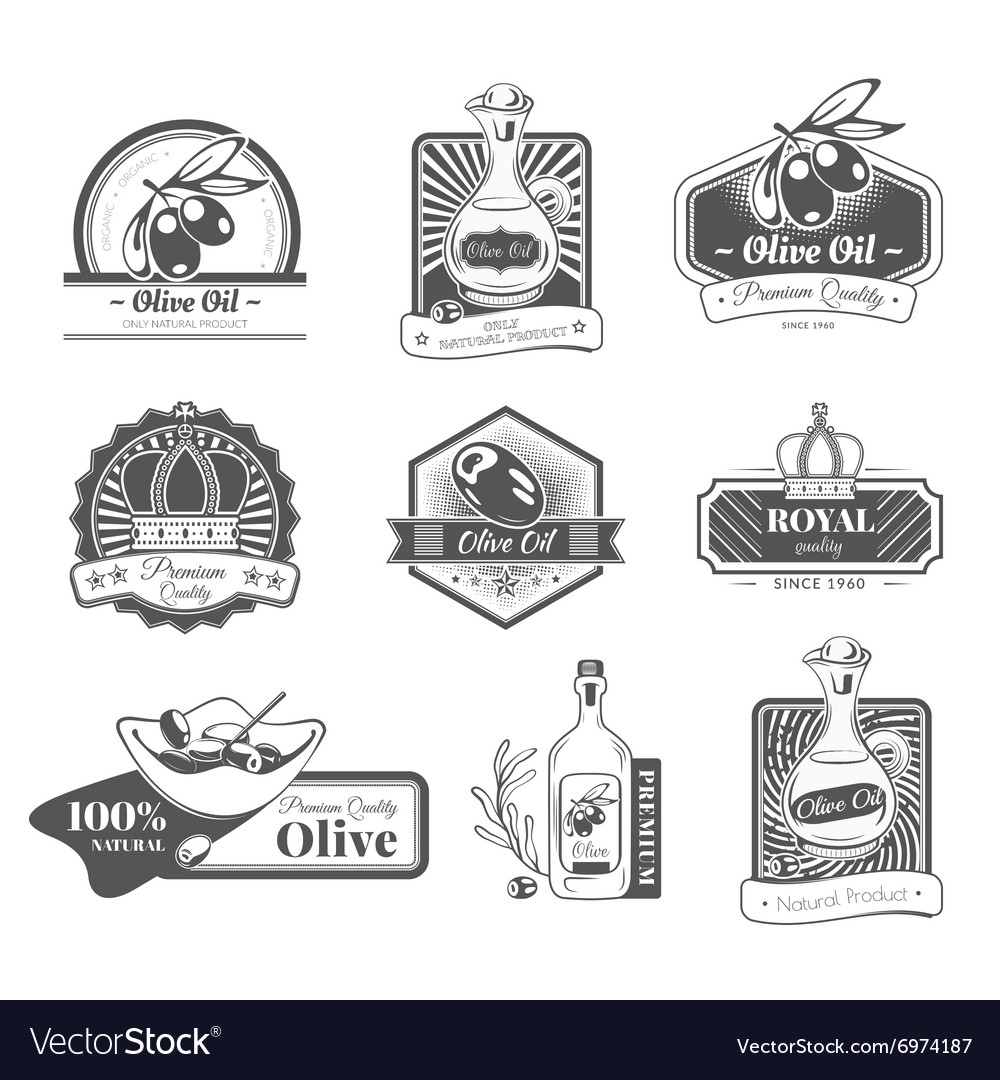 Set with labels on the theme olive oil