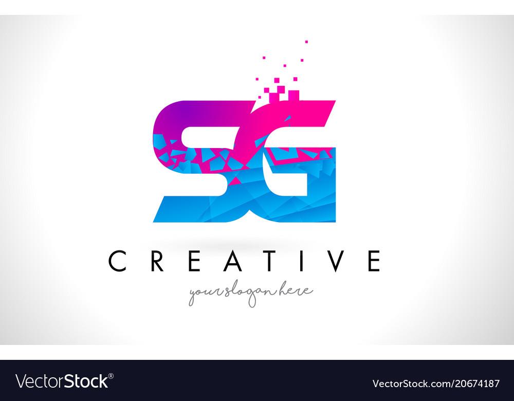 Sg S G Letter Logo With Shattered Broken Blue