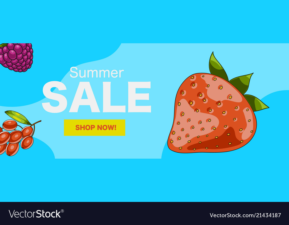 Summer sale web banner with berries