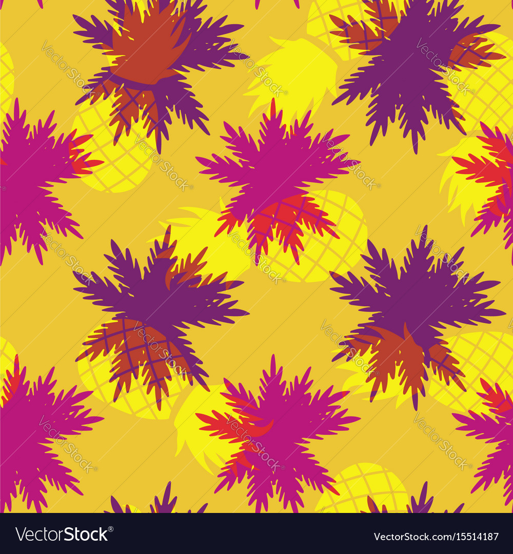 Tropical Summer Pineapple Palm Leaf Pattern
