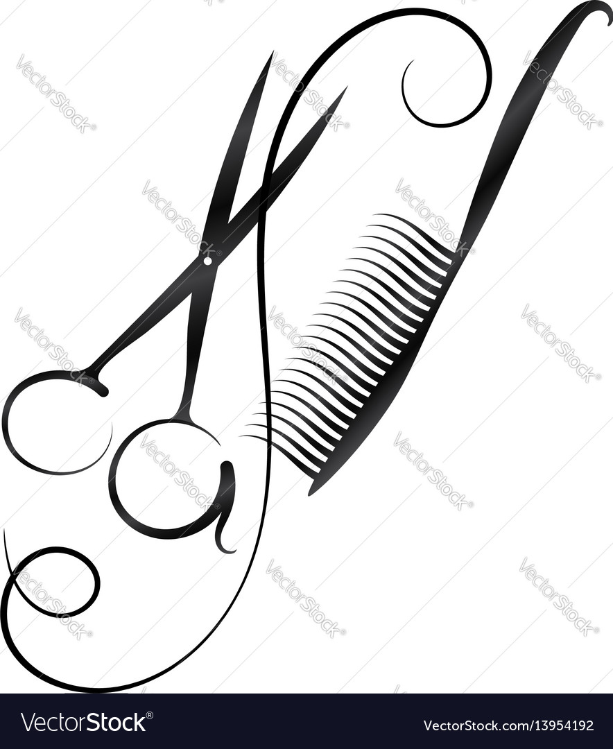 A symbol for a hairdresser and beauty salon vector image
