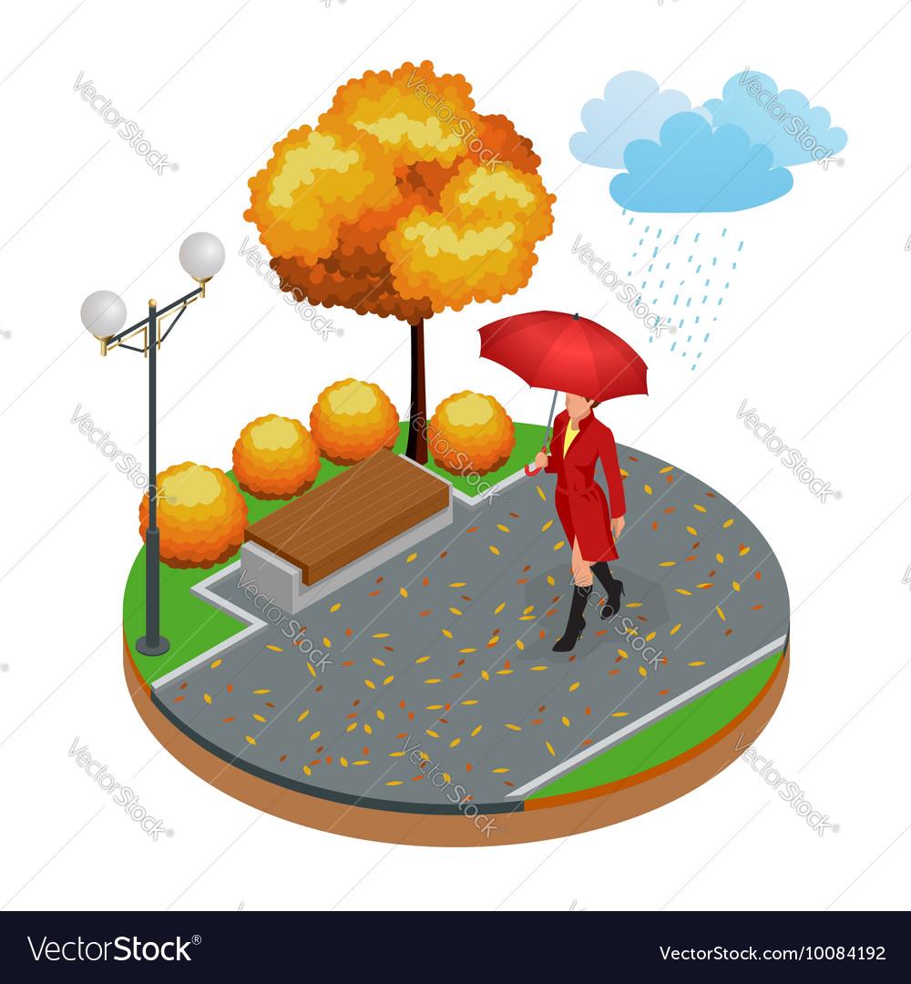 Beautiful girl with umbrella at autumn park vector image