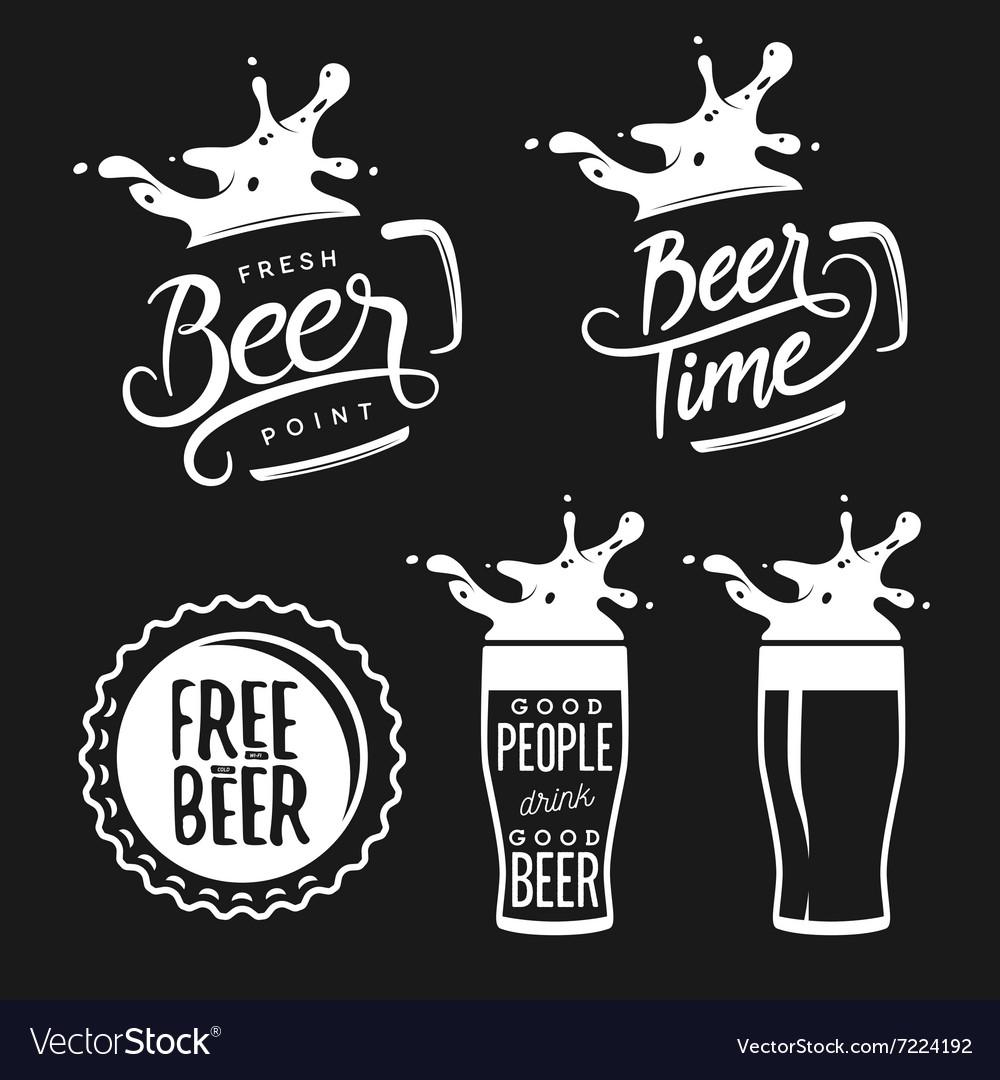 Beer related typography set vintage