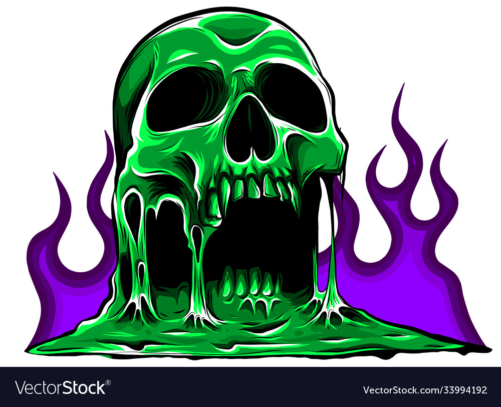 Burning skull with classic tribal flames vector