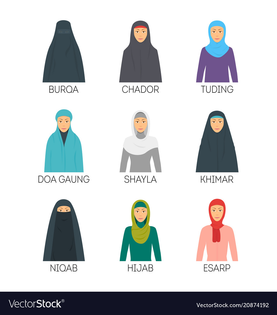 Cartoon hijab type signs color icons set