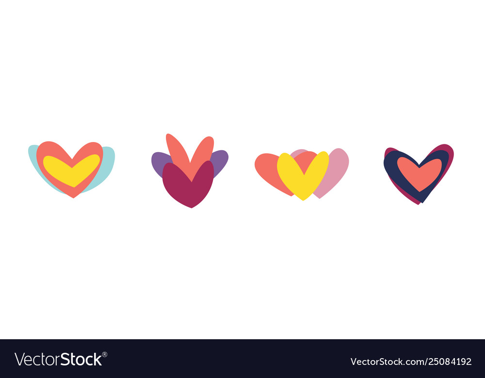 Creative red hearts icon set valentines day sign