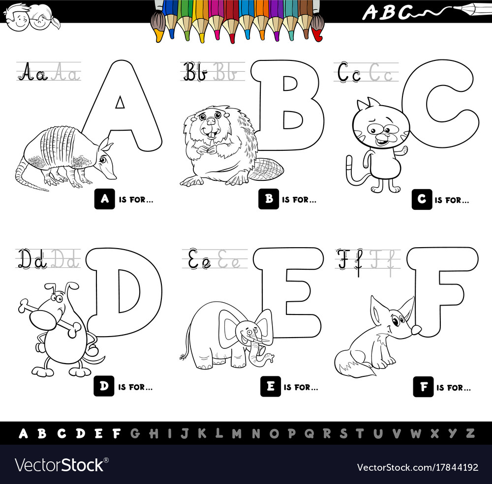 Educational cartoon alphabet letters for coloring vector image
