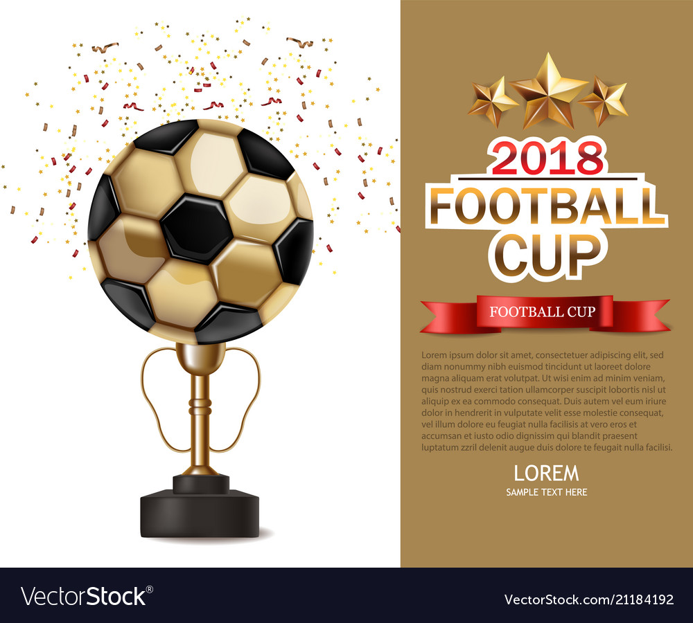 Golden cup and soccer ball realistic