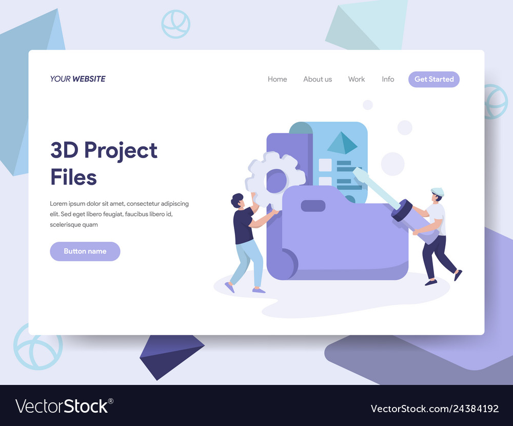 Landing page template of 3d project files