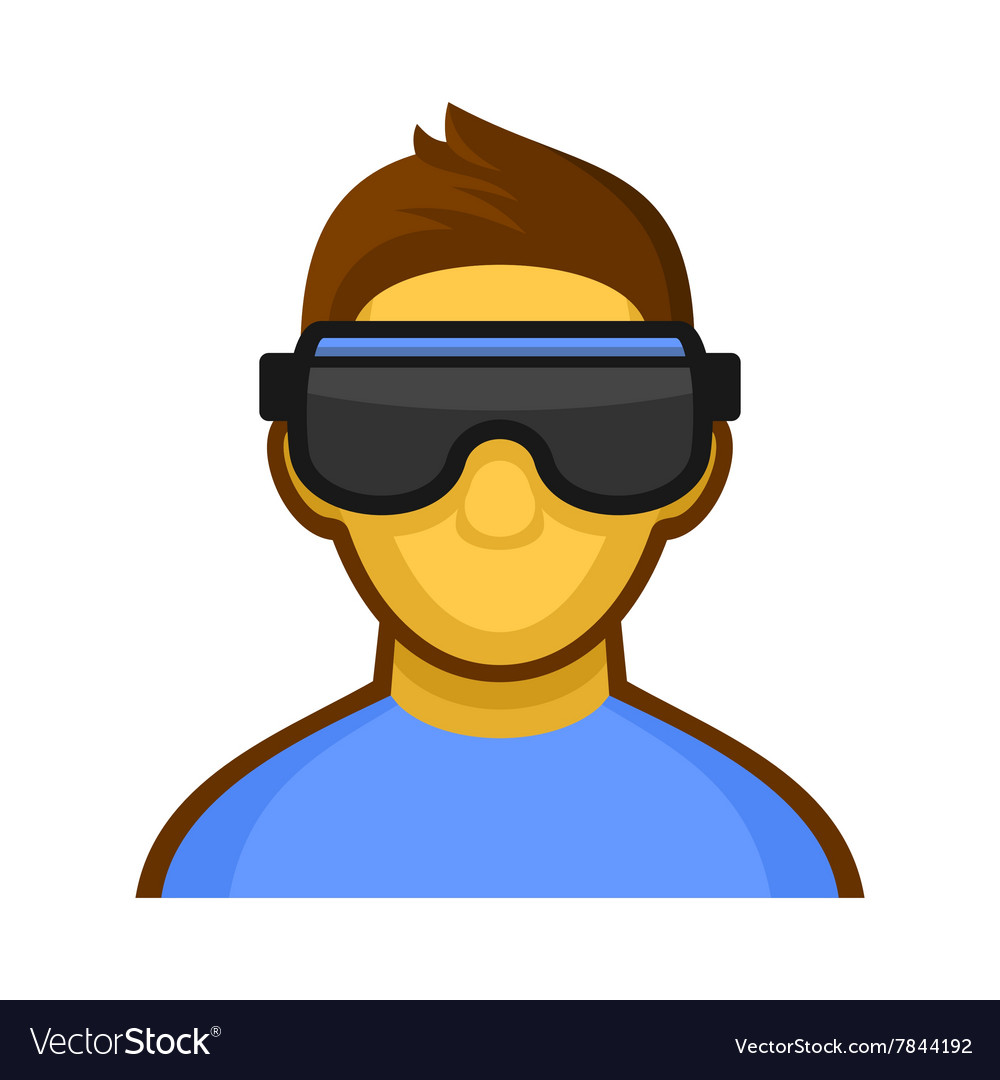 Man with Virtual Reality Headset Icon