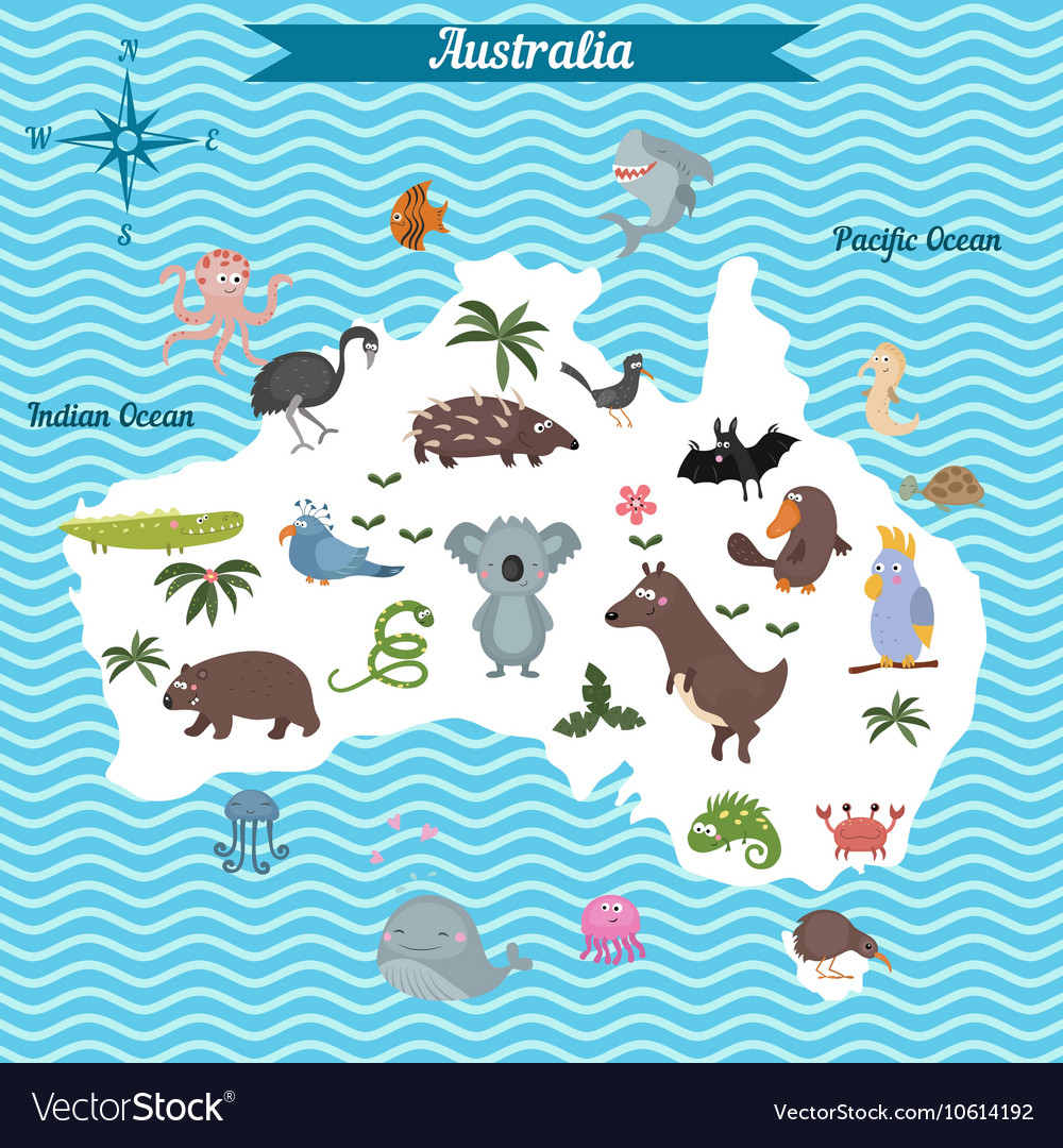 Map of australia continent with animals Royalty Free Vector