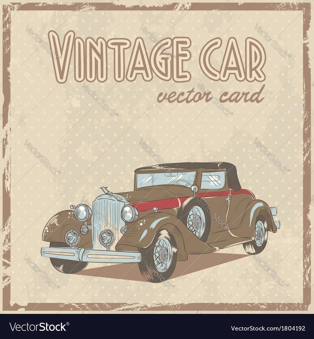 Retro 50s car stylish vintage postcard vector image