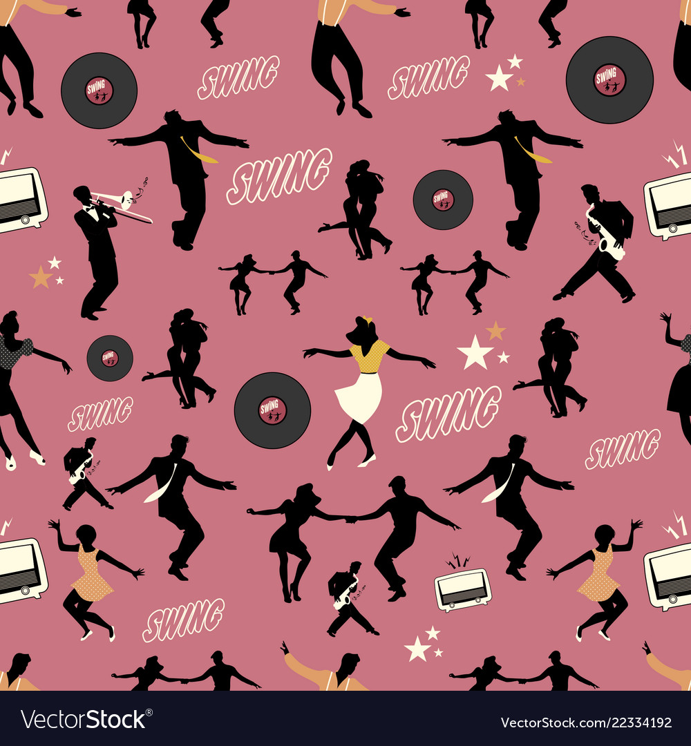 Swing dance pattern dancers and musicians retro