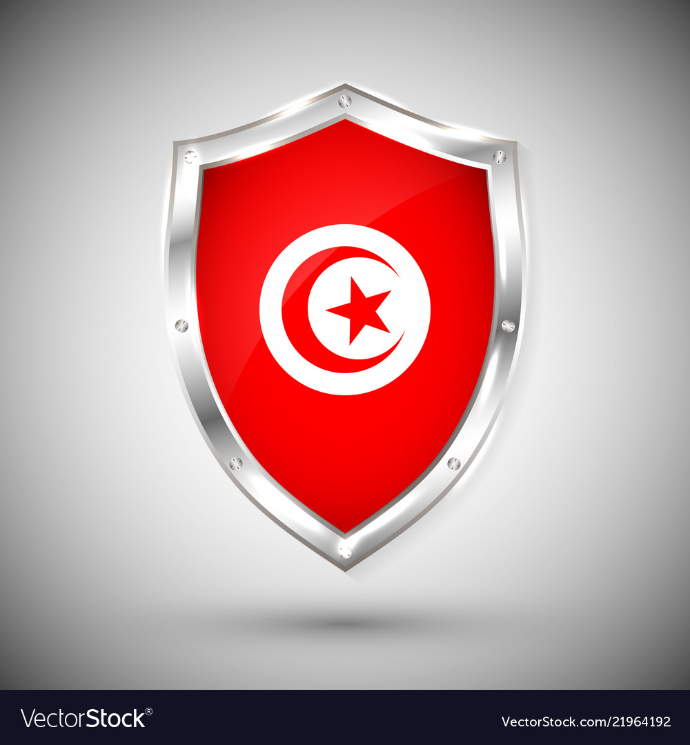 Tunisia flag on metal shiny shield collection of