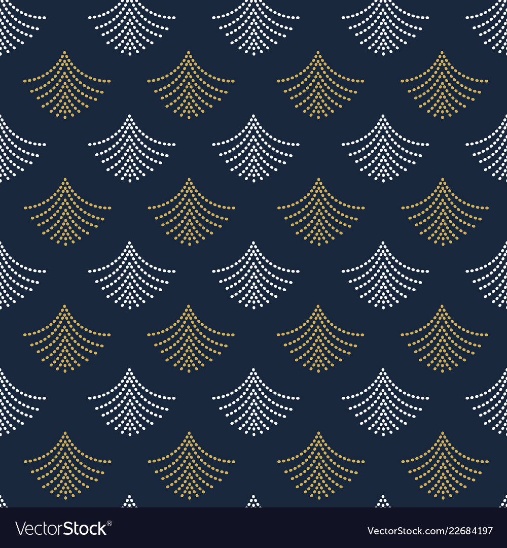 Abstract trendy golden and white fan shape pattern