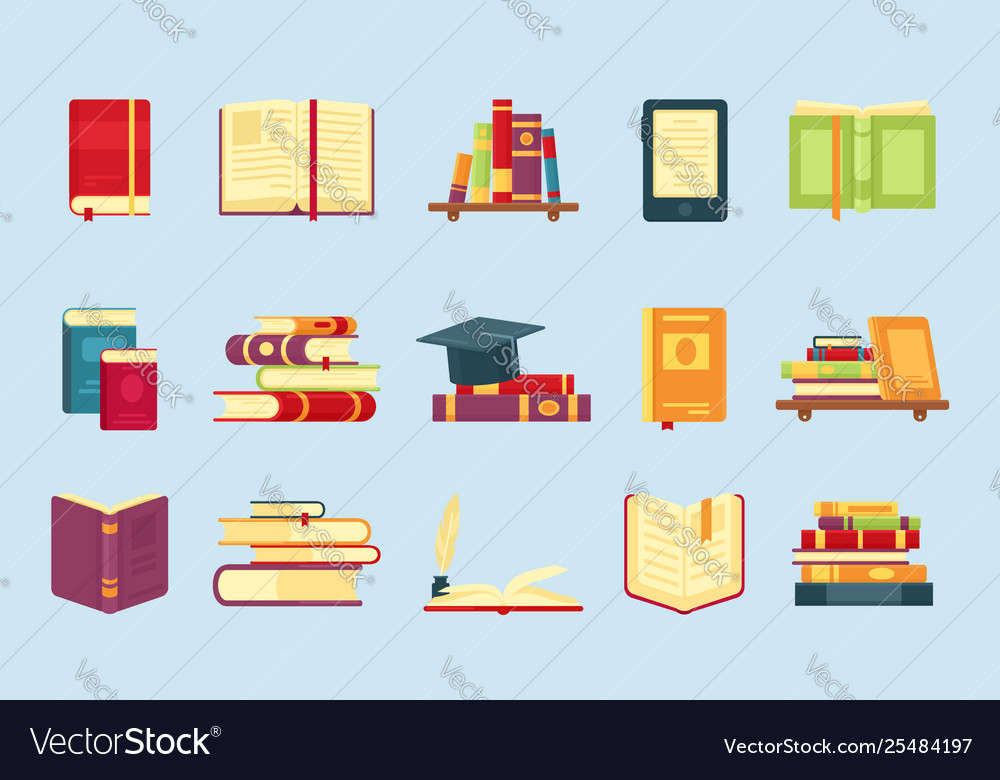 Books icon set for education infographic template