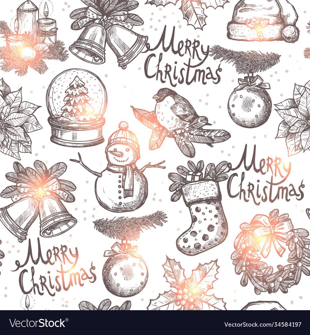 Christmas monochrome seamless pattern