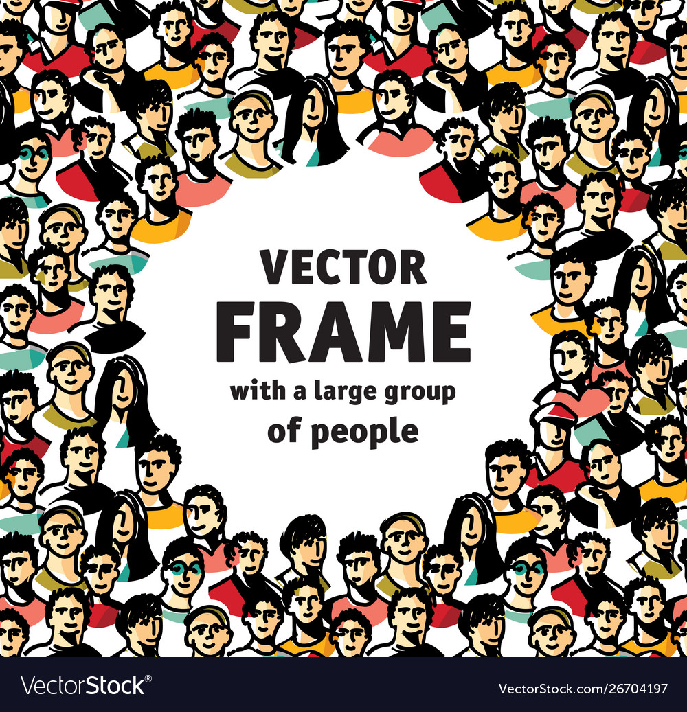 Frame with big group happy people
