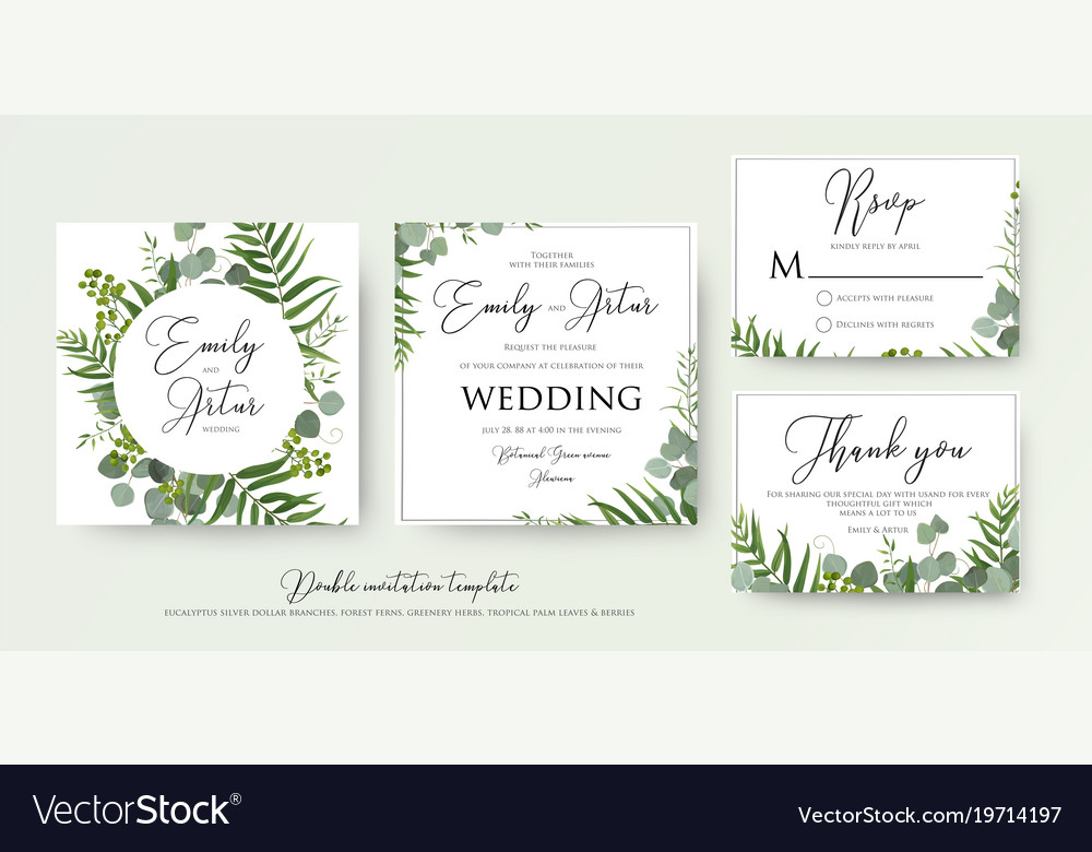 Greenery Floral Wedding Invitation Thank You Cards