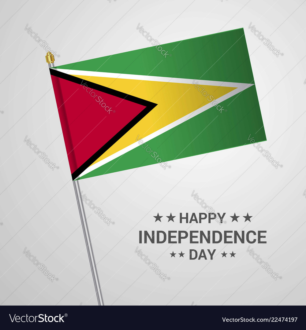 Guyana independence day typographic design with vector image