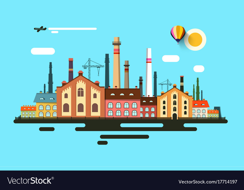 Industrial town abstract urban flat design vector image