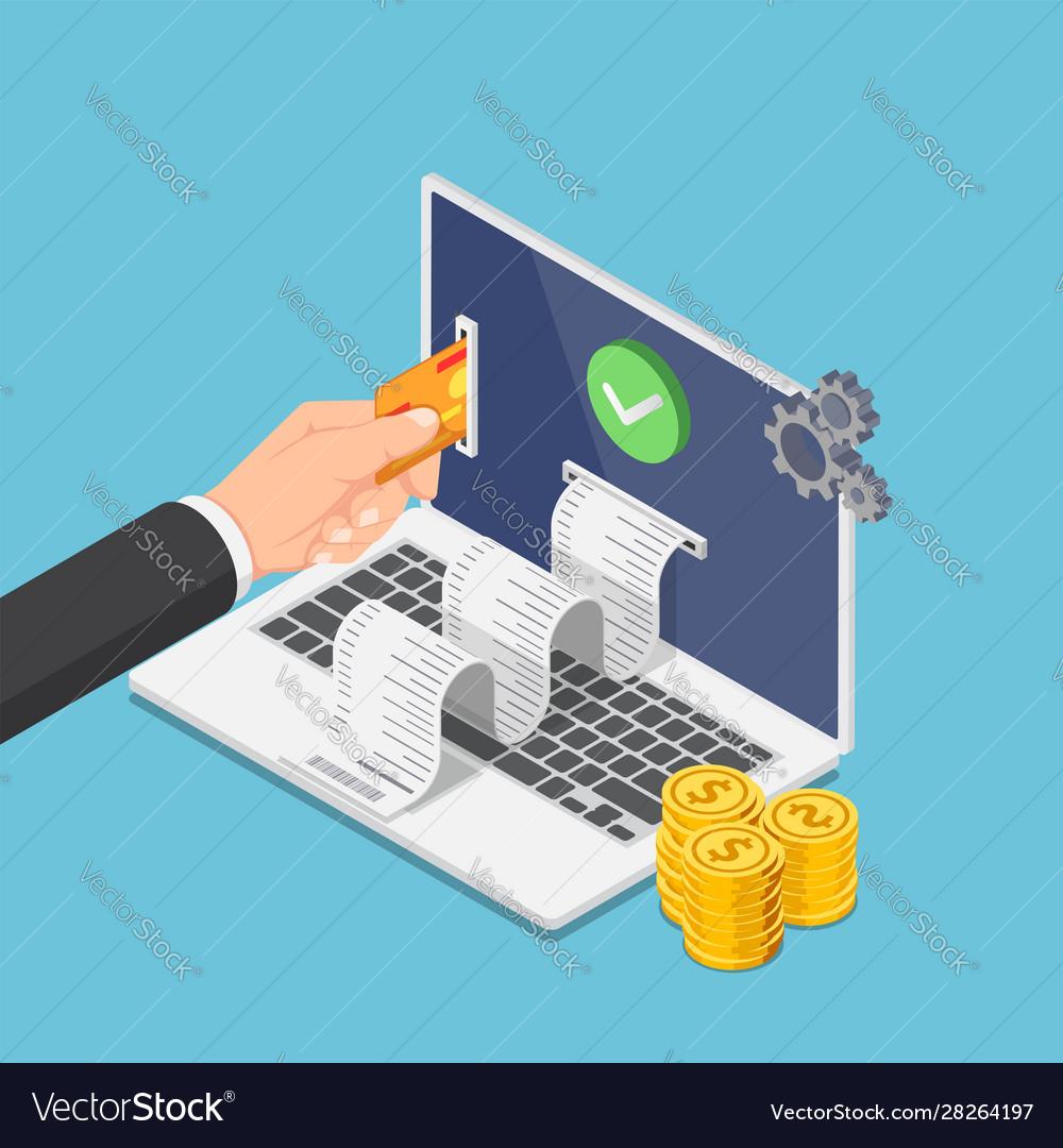 Isometric businessman hand put credit card on