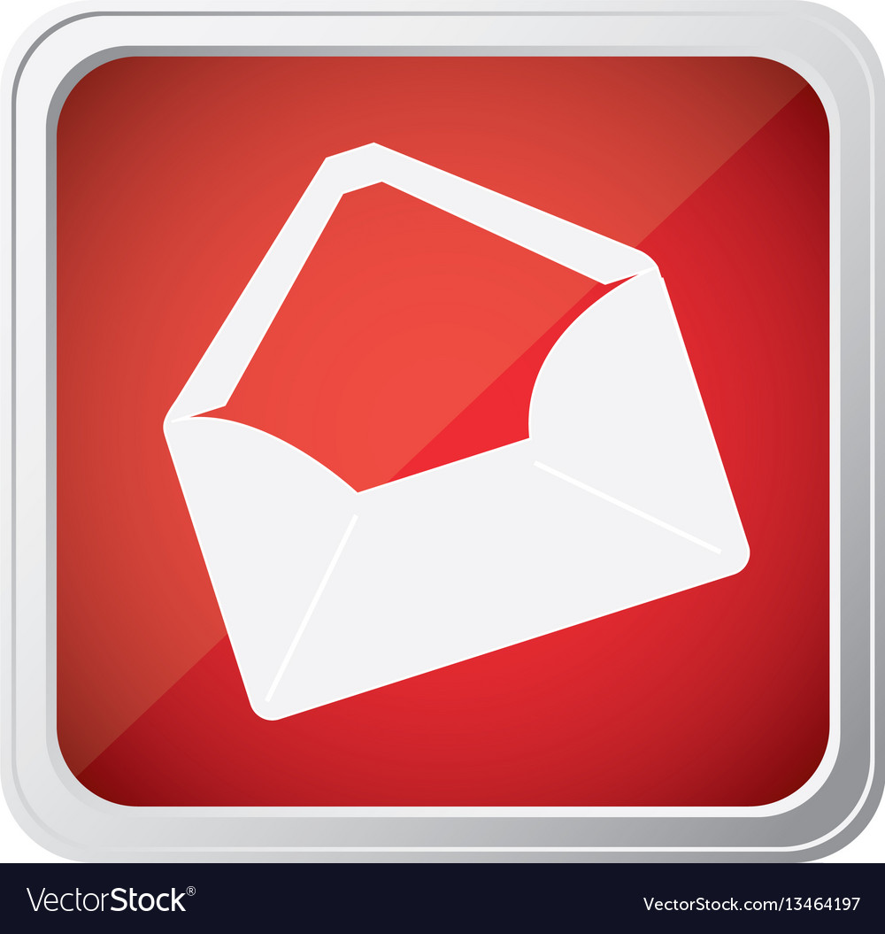 Red emblem open message envelope icon