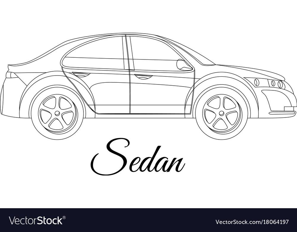 Sedan saloon car body type outline