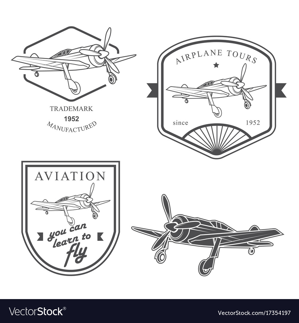 Set of vintage airplane labels badges and design