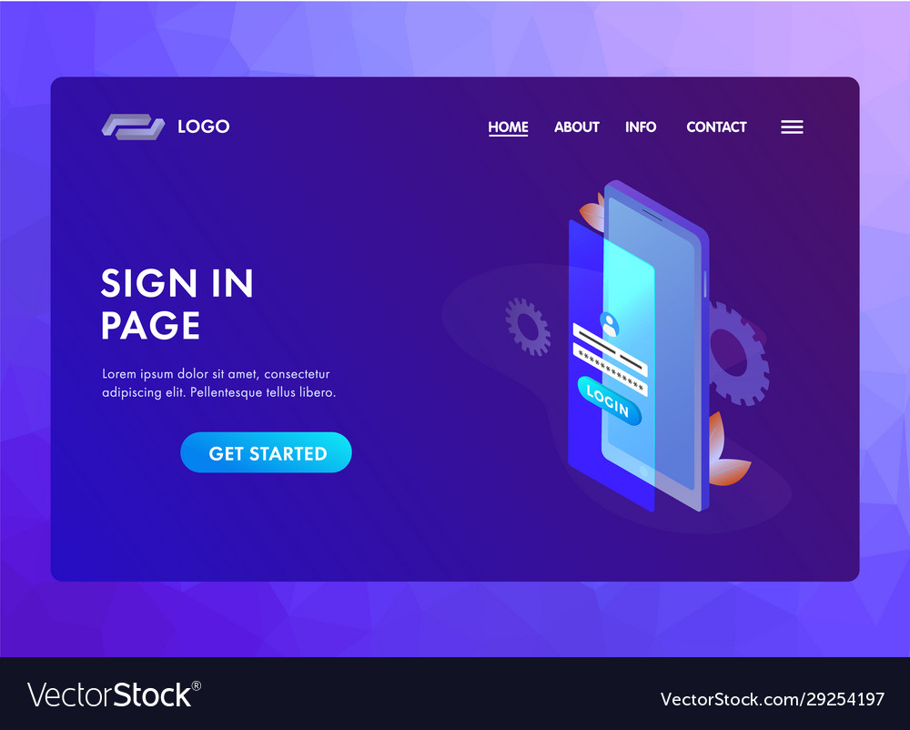 Sign In Login Form Concept Ui Ux Material Vector Image