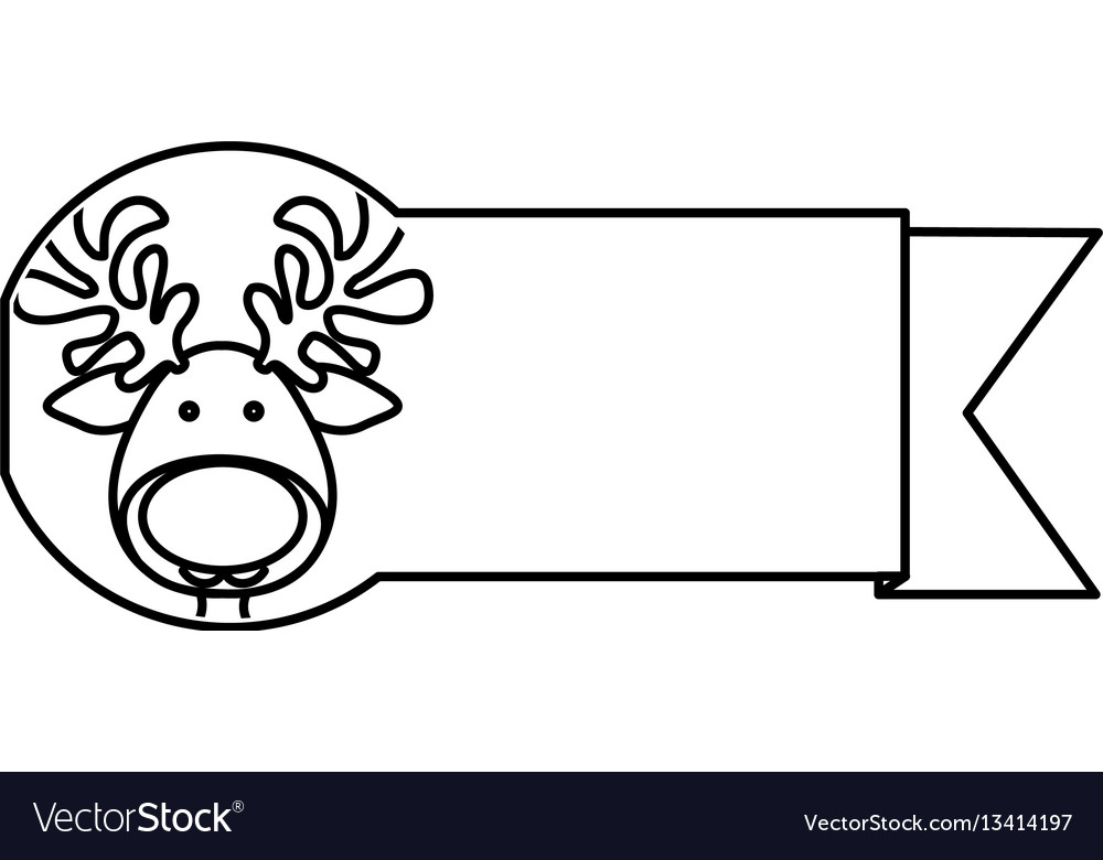 Silhouette ribbon with face reindeer christmas vector image