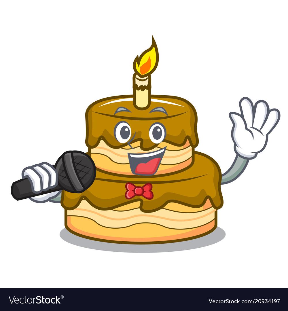 Pleasing Singing Birthday Cake Mascot Cartoon Royalty Free Vector Personalised Birthday Cards Paralily Jamesorg