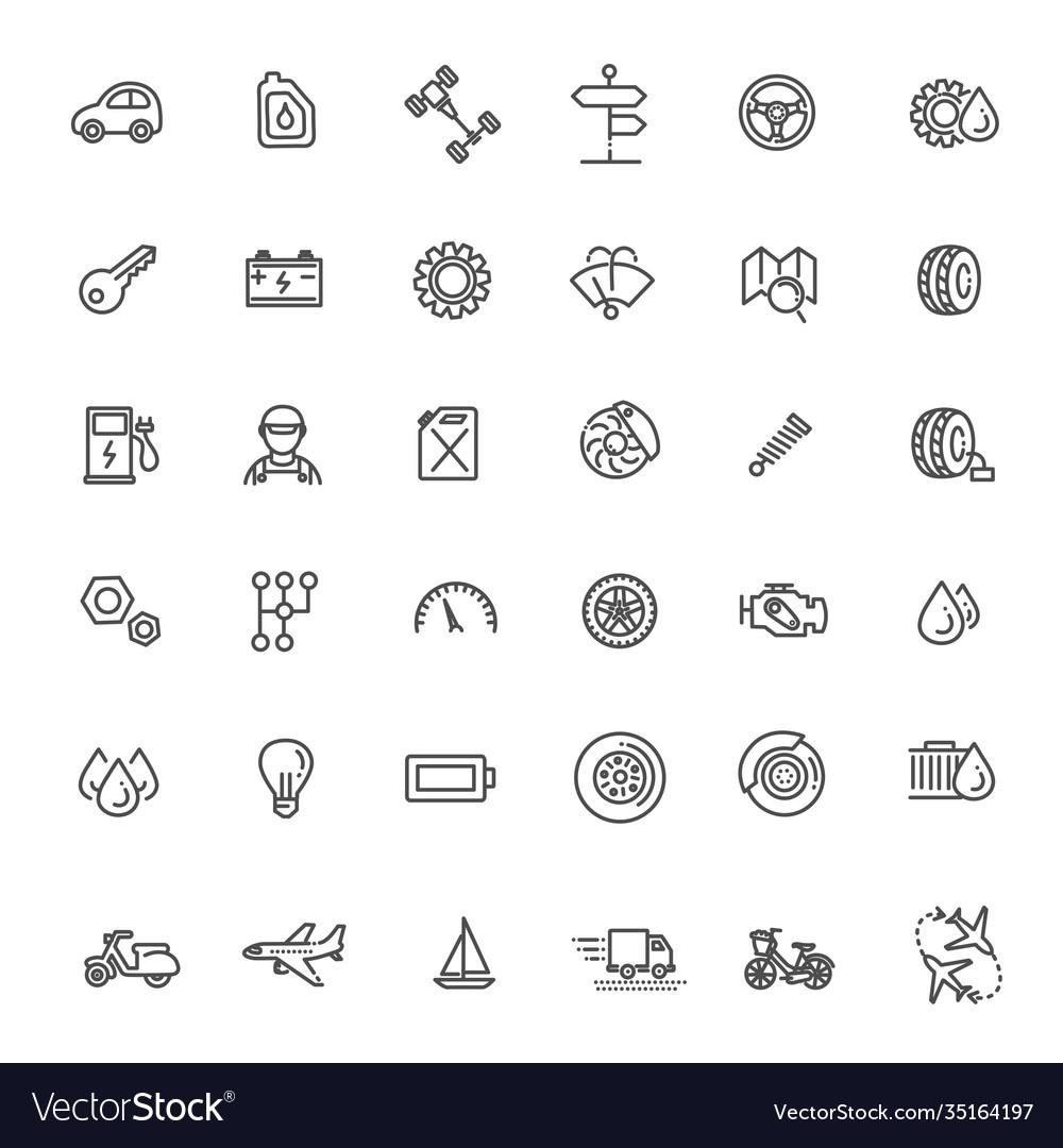 Transport icons thin line design