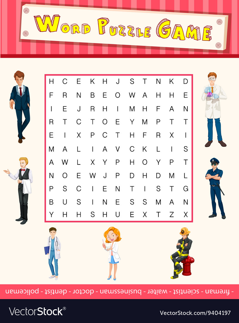 Word puzzle game template with occupations Vector Image