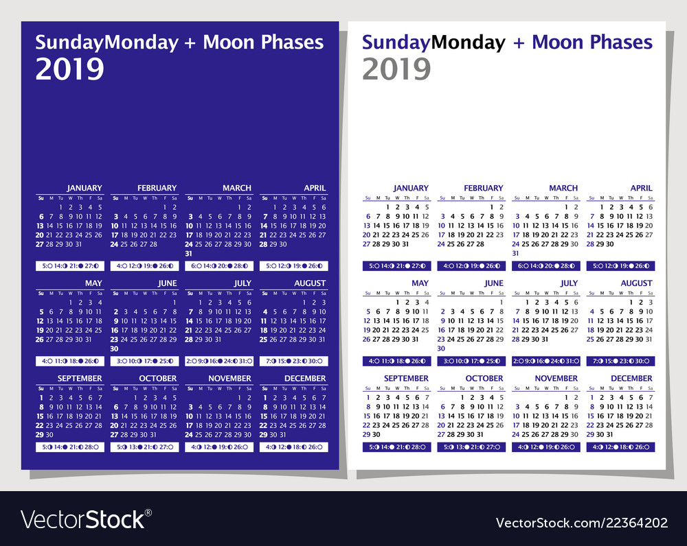 Moon Phases Calendar.Calendar 2019 Week Starts From Sunday Moon Phase