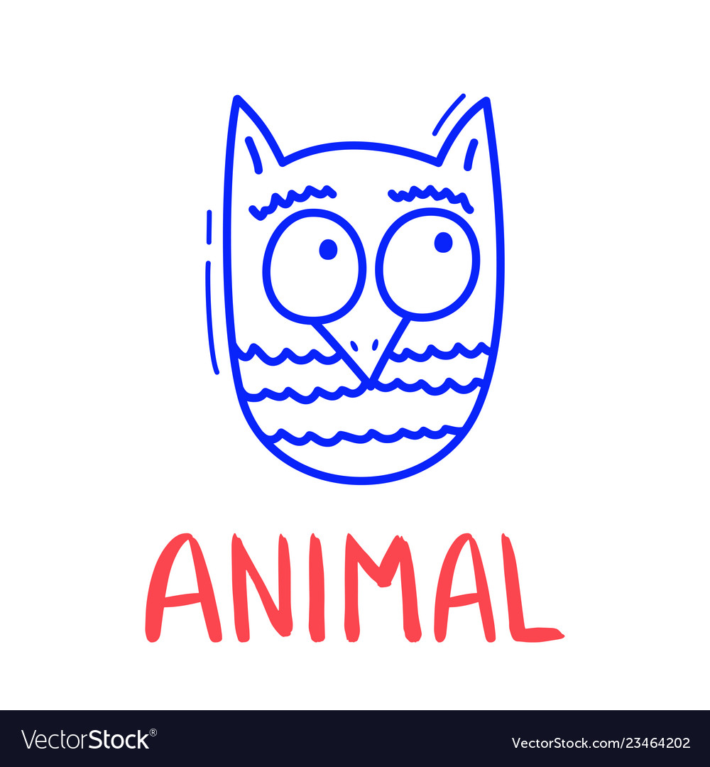 Colorful doodle owl in trendy style little animal
