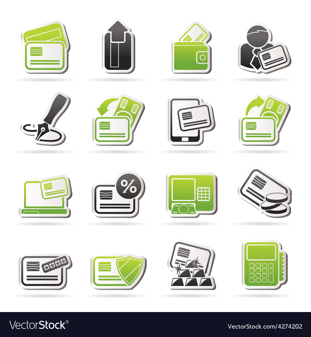 credit card pos terminal and atm icons royalty free vector