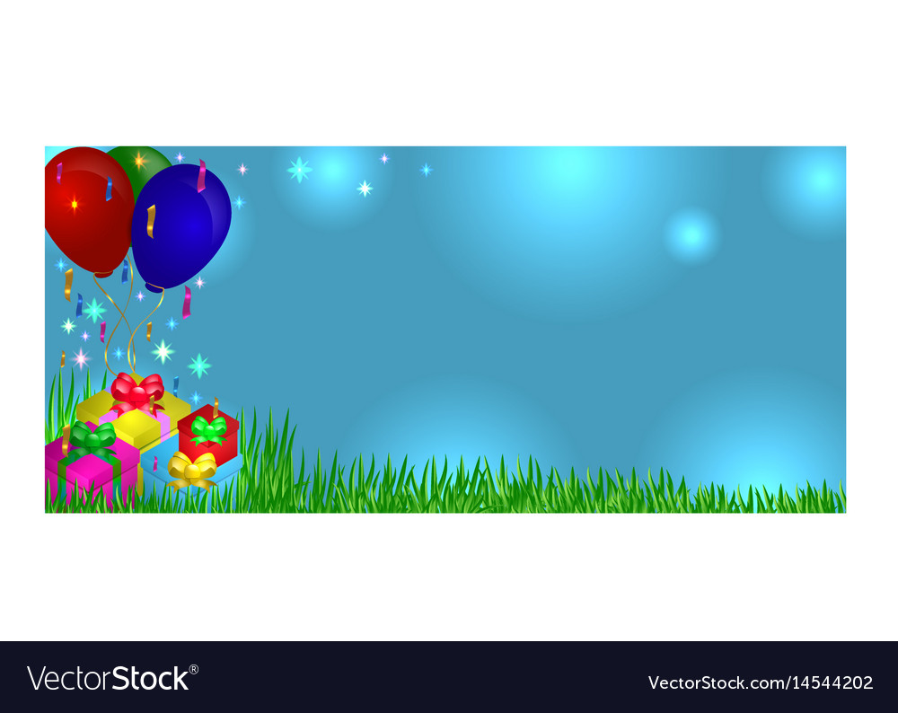 Gifts on grass with balloons