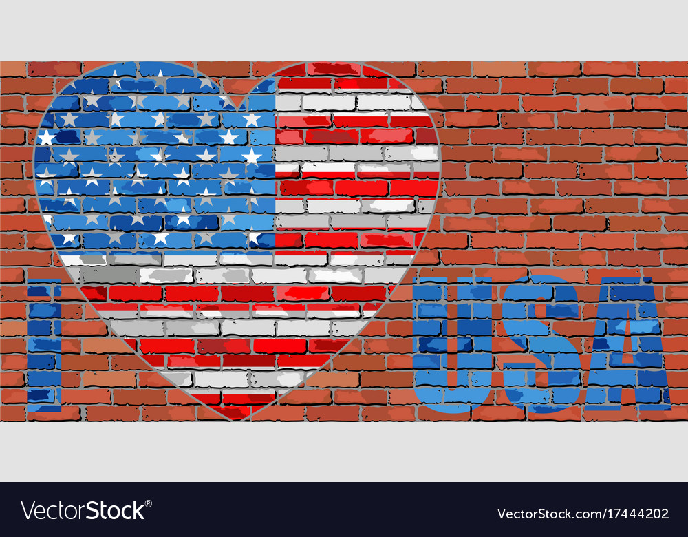 I love usa - message on a brick wall vector image