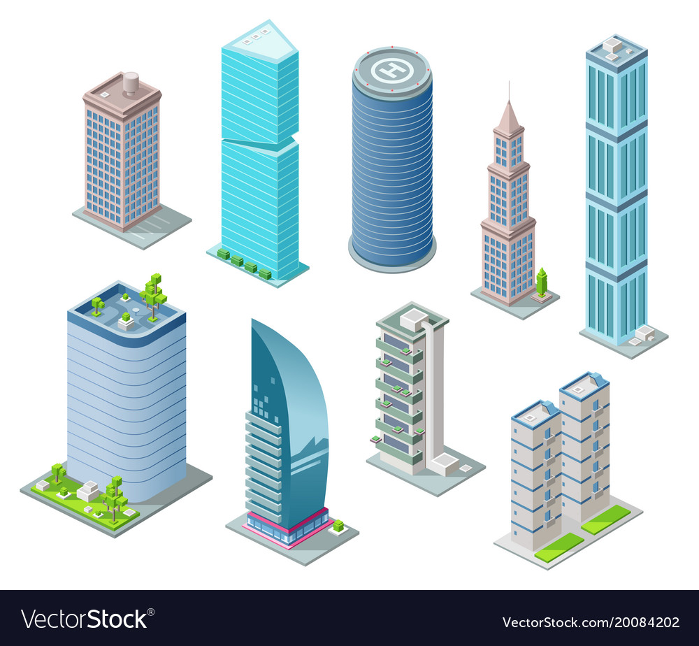 Isometric 3d buildings and city skyscrapers