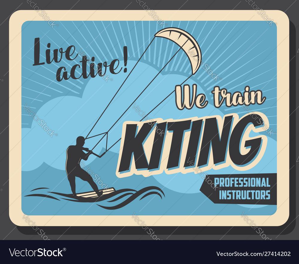 Kiteboarding extreme water sport kiting trains