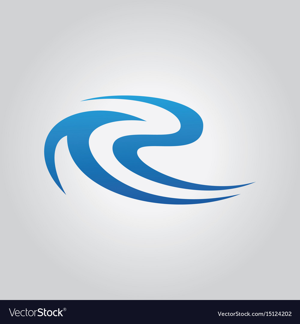Letter r wave abstract logo vector image