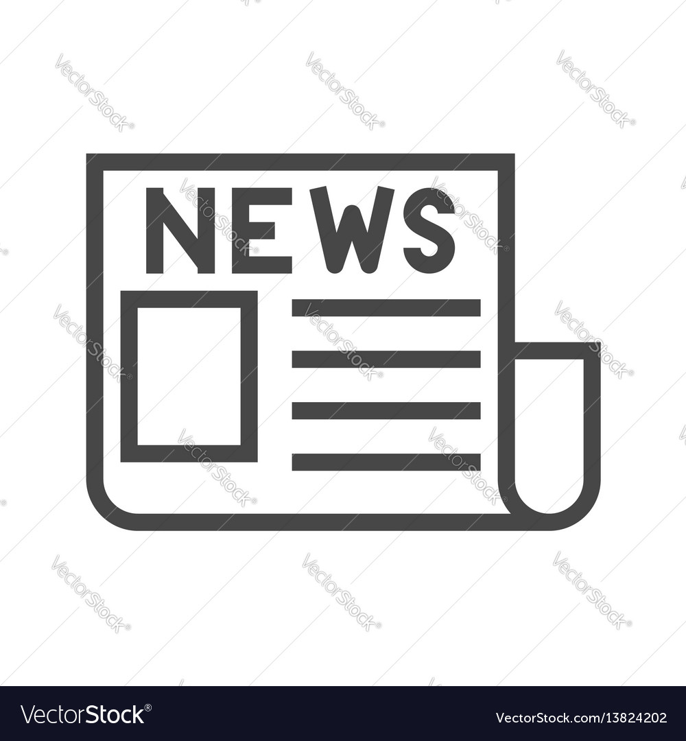 Newspaper thin line icon vector image