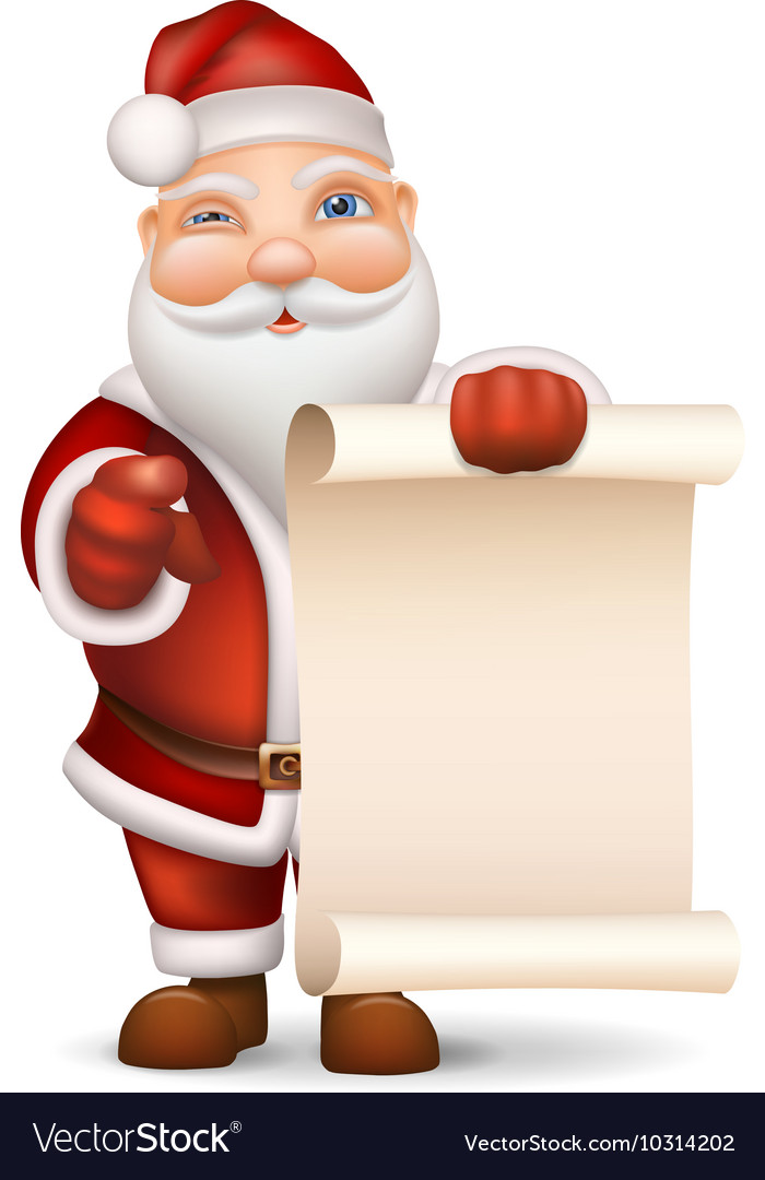Santa Claus with a list of gifts